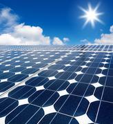 Solar cell array against the sun Stock Illustration