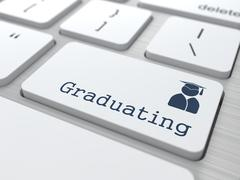 Graduating Button - Education Concept. - stock illustration