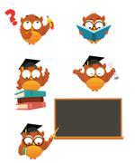 Intelligent Owl set - stock illustration