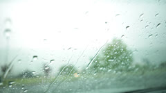 Stock Video Footage of Heavy Severe Weather Rainstorm Through Car Windshield Stock Video