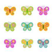 retro butterflies - stock illustration