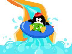 Water Slide Penguin - stock illustration