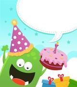 "Monster""s Birthday Message - stock illustration"