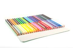 Many color of color pencils Stock Photos