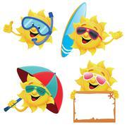 Sun Characters - stock illustration