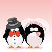 Wedding Penguins - stock illustration