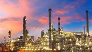 Stock Photo of oil and gas industry - refinery at twilight - factory - petrochemical plant