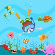 Diving Kid - stock illustration