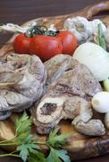 Baked Osso buco with vegetable - stock photo