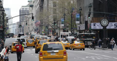 Ultra HD 4K NYC Yellow Cab Cars Busy Street Traffic Rush Hour New York City Day - stock footage