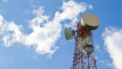 time lapse antenna communication tower and blue sky - stock footage