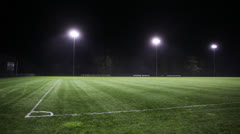 Nighttime Illuminated Soccer Field Pitch Stock Video - stock footage