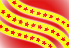 Flag, red star with red background Stock Illustration