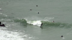 Surfers at the San Francisco Bay, near from Golden Gate Stock Footage