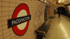 Passengers get off underground at Paddington, London Stock Footage
