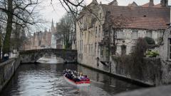 Tourist Boat in  Brugge Canals Stock Footage