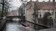 Stock Video Footage of Tourist Boat in  Brugge Canals