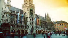 Munich, The historical town hall, time lapse Stock Footage