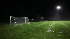 Pan Right on Illuminated Soccer Field Pitch Stock Video Stock Footage