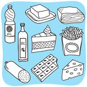 fats and oils - drawing - stock illustration