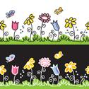 Summer flowers  and butterflies on meadow Stock Illustration