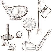 Golftuotemalliston - doodle tyyli Piirros