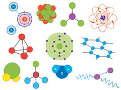 Illustration of atoms and molecules Stock Illustration
