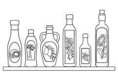 set of natural oils - stock illustration
