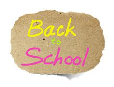 Drawing back to school on a recycle paper note pad Stock Illustration