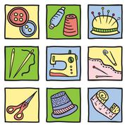 sewing stuff and tools - stock illustration
