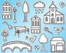 Kaupunki sisustuselementtejä Piirros