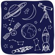 Astronomy - space and night sky objects Stock Illustration