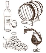 Set of wine doodles Stock Illustration