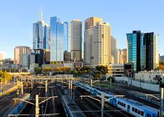 Kaupunki junat Melbournessa Kuvituskuvat