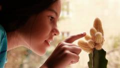Girl and cactus - stock footage