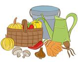 Stock Illustration of illustration of garden tools and harvest basket