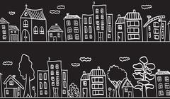 illustration of houses and buildings - seamless pattern - stock illustration