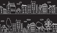 Stock Illustration of illustration of houses and buildings - seamless pattern
