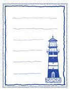 writing paper or letter paper with lighthouse - stock illustration