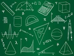 Mathematics - school supplies, geometric shapes and expressions Stock Illustration
