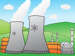 Hand-drawn illustration of nuclear power plant Stock Illustration