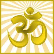 hinduism religion golden symbol om on sun burst background - stock illustration