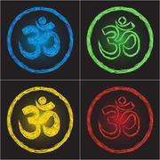 hinduism religion golden symbol om on black background - doodle - stock illustration
