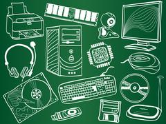 Stock Illustration of pc components and peripheral devices sketches on school board