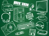 Pc components and peripheral devices sketches on school board Stock Illustration