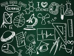 scientific icons and formulas on the school board - stock illustration