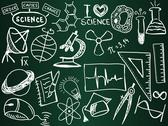 Stock Illustration of scientific icons and formulas on the school board