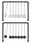 Newton's cradle with letters on balls Stock Illustration