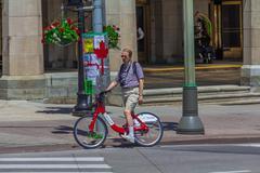 A bicyclist in ottawa Stock Photos
