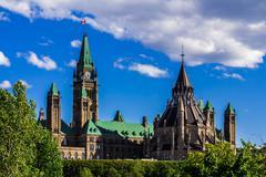 Parlamentin rakennuksessa Ottawassa Kuvituskuvat